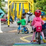 Kids learn to bike safely in a Mtl park